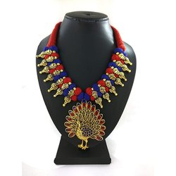 Meenakari Kolhapuri Peacock Pendent Necklace