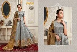 Chanderi Embroidered Heavy Gown