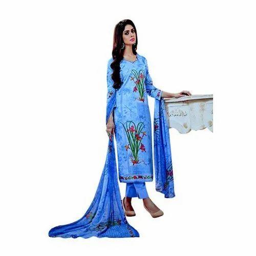 Blue Cotton Printed Ladies Suit