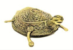 Dhokra Metal Handicraft Life-Size Tortoise Figurine