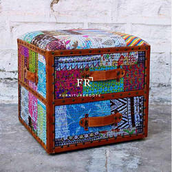 Indian Vintage Export Furniture - Designer Pouf & Recycled Fabric Ottoman