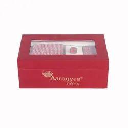 3 Pc Men's Corporate Red Textile Weave Aarogyaa Micro Jacquard Silk Tie Neck Set Cuff Links Scarf