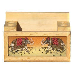 Whitewood Pen Holder, Size: 5.25x2.5x3.25 Inches