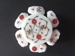 Indian Art Handmade Semi Precious Inlay Work Marble Box
