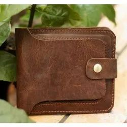 KLC Brown Ladies Leather Snap Button Short Wallet