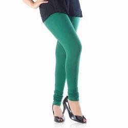 Green Cotton Ladies Stretchable Legging