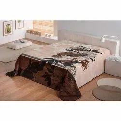 Double Bed Beige Printed Blanket