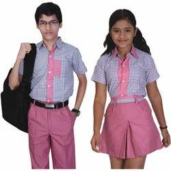 Pink And Blue Cotton Summer School Uniform