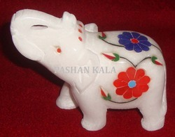 White Marble Inlaid Elephant Statue