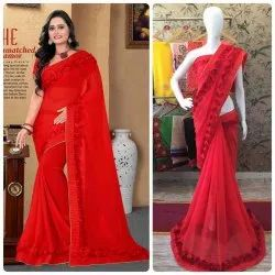 Georgette with Flower Lace Saree