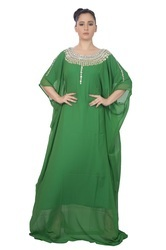 Georgette Round Neck Plain Farasha Dress