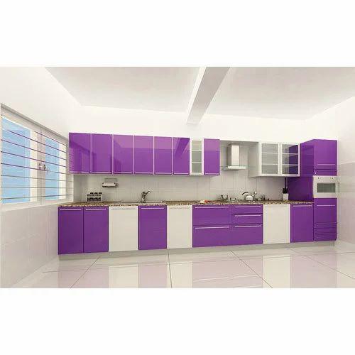 Straight Modular Kitchen 8 Square Modular Kitchens: Purple White Straight Modular Kitchen At Rs 2250 /square