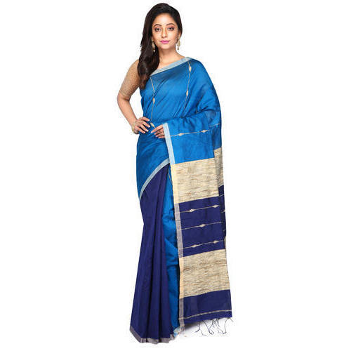 759c8ed69a9efb Party And Casual Wear Blue Handloom Cotton Silk Saree