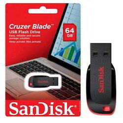 Red & Black SanDisk 64GB Cruzer Blade Pen Drive
