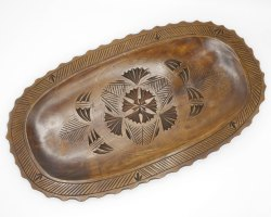 Antique Wooden Serving Dish Chip Wood Carving