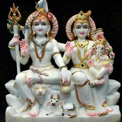 Multicolor Marble Shiv Parivar Statue