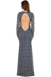 Embroidered Party Wear Backless Sequin Maxi Bodycon Fishtail Lace Mermaid Fishcut Gown Dress