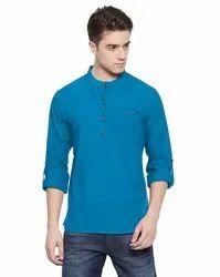 Casual Plain Mens Short Kurta (Loop Style), Mandarin Collar