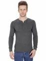Pintapple Solid Mens Henley Grey T-shirt