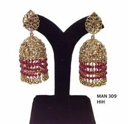 Party Wear Trendy Polki Jhumkas with Danglers MAN 309, MAN 344, MAN 345