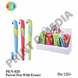 Plastic Blue Parrot Pen with Eraser