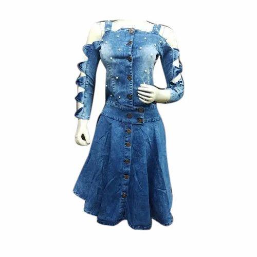 a2eb28577d9bb7 Blue Knee Length Ladies Denim Dress, Rs 675 /piece, R N Apparels ...