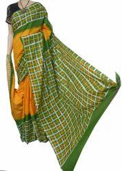 Yellow Cotton Hand Batik Silk Saree, 6.3 M (with Blouse Piece)