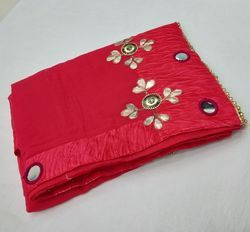 Georgette Mirror And Hand Work Tomato Red Saree