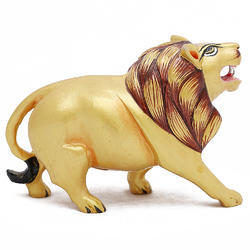 Wooden Lion Walking Wp070  Statue