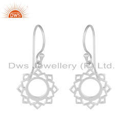 White Rhodium Plated Indian Vishuddha Chakra 925 Silver Earrings