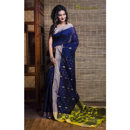eb4fafad55 Khadi Sarees - Pure Handloom Khadi Soft Cotton Silk Saree in Navy ...