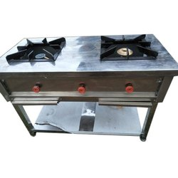 Two Burner Stoves Range, For Commercial Cooking, Number Of Knob: 3