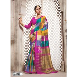 Multicolor Ladies Bhagalpuri Silk Saree, 6.3 m (with blouse piece)