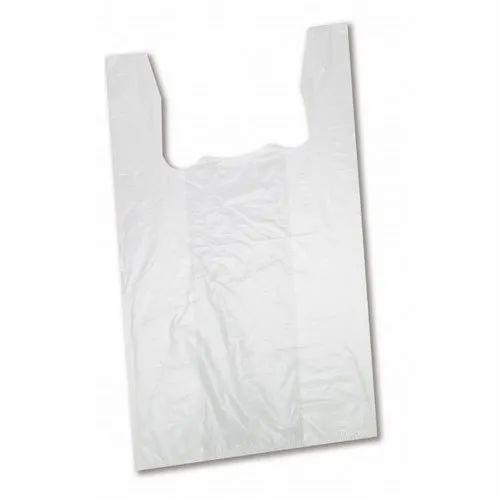 White Plain Plastic Shopping Carry Bag, Capacity: 2 - 5 kg