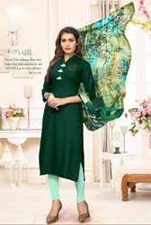 Pine Green Rayon Kurti with Digital Print Dupatta