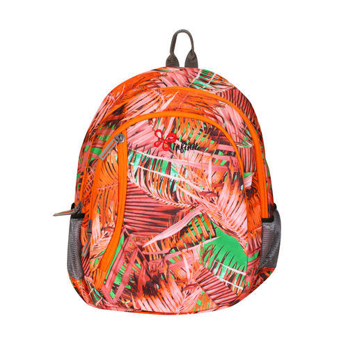 Printed Nylon Orange Color Spring Backpack