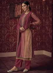 Maroon And Khaki Handwork Pant Kameez With Chanderi Dupatta