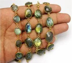 Labradorite Gemstone Gold Plated Bezel Connector Chain