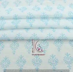 Sky Blue Cotton Floral Small Block Print Sanganeri, Bagru Print Fabric