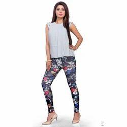 Digital Poly Viscose Lycra Ladies Printed Legging