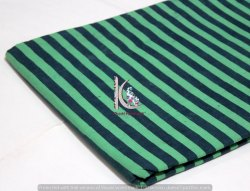 Green And Blue Hand Block Print Strip Cotton Fabric