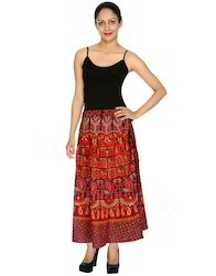 Designer Elephant and Peacock Printed Wrap Around Women Skirt