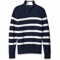 Wool Collar Neck Mens Striped Sweater