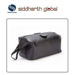 Premium Black Leather Toiletry Kit Bag