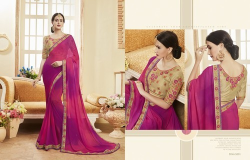 008ba6513134b1 Chiffon Casual Wear Plain Designer Saree With Heavy Blouse Work, With Blouse  ,Machine Made