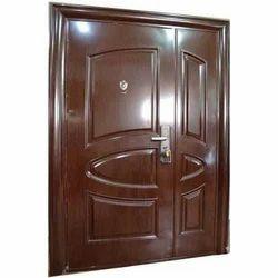 Brown Wood Finish Mild Steel Safety Door
