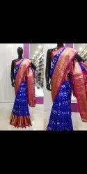 Pink, Blue Blue and Pink Ikkat Jacquard Silk Saree, 6.5 m