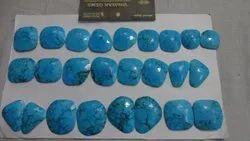 Turquoise Stones Slice Pairs, Fancy Shape, Rose Cut Loose Gemstone