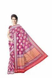 Red Color Weaving Design Dupion Silk Bandhani Saree