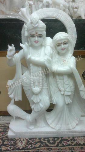 White Painted Radha Krishna Idols Marble Statues Size 2